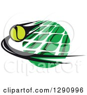 Clipart Of A Green White And Black Tennis Ball And Net Logo 2 Royalty Free Vector Illustration