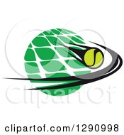 Clipart Of A Green White And Black Tennis Ball And Net Logo Royalty Free Vector Illustration