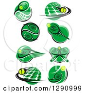 Clipart Of Green White And Black Tennis Ball Racket And Net Logos Royalty Free Vector Illustration