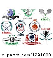 Clipart Of Sports Designs With Equipment And Text Royalty Free Vector Illustration