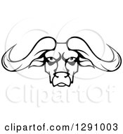 Clipart Of A Black And White Longhorn Bull Face Royalty Free Vector Illustration