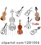 Clipart Of Violins In Color And Black And White With Text Royalty Free Vector Illustration