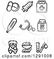 Clipart Of Black And White Medicine And Pharmacy Icons Royalty Free Vector Illustration by Vector Tradition SM