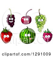 Clipart Of Currants Cherry Green Grapes Strawberry Watermelon And Raspberry Characters Royalty Free Vector Illustration