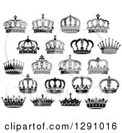 Clipart Of Black And White Crowns 13 Royalty Free Vector Illustration