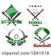 Clipart Of Baseball Diamond Field Ball Bat And Wreath Sports Designs With Text Royalty Free Vector Illustration