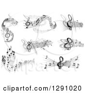 Clipart Of Grayscale Flowing Music Note Wave Designs 3 Royalty Free Vector Illustration