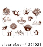Clipart Of Brown And White Coffee House And Bar Designs Royalty Free Vector Illustration