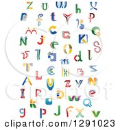 Clipart Of Colorful Abstract Alphabet Letters 4 Royalty Free Vector Illustration