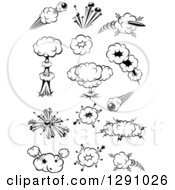 Clipart Of A Black And White Comic Bursts Explosions Or Poofs 6 Royalty Free Vector Illustration