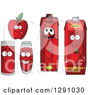 Clipart Of A Happy Red Apple And Juice Cartons And Cups Royalty Free Vector Illustration