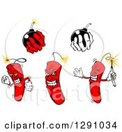 Clipart Of Dynamite Stick Characters And Hands Holding Bombs Royalty Free Vector Illustration