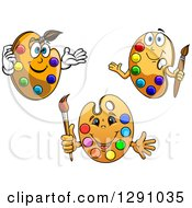 Clipart Of Cartoon Happy Art Palette Characters Royalty Free Vector Illustration by Vector Tradition SM