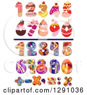 Clipart Of Colorful Funky Patterned And Bakery Numbers And Math Symbols Royalty Free Vector Illustration