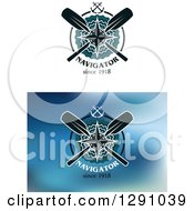 Clipart Of Nautical Navigator Designs With Anchors Compasses And Paddles Royalty Free Vector Illustration