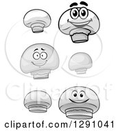 Clipart Of Grayscale Button Mushrooms And Characters Royalty Free Vector Illustration