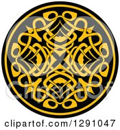 Clipart Of A Round Yellow And Black Celtic Medallian Design 6 Royalty Free Vector Illustration