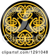 Clipart Of A Round Yellow And Black Celtic Medallian Design 7 Royalty Free Vector Illustration