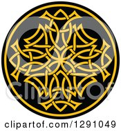 Clipart Of A Round Yellow And Black Celtic Medallian Design 8 Royalty Free Vector Illustration