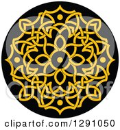 Clipart Of A Round Yellow And Black Celtic Medallian Design 2 Royalty Free Vector Illustration