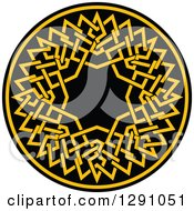Clipart Of A Round Yellow And Black Celtic Medallian Design Royalty Free Vector Illustration