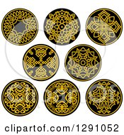 Clipart Of Round Yellow And Black Celtic Medallian Designs Royalty Free Vector Illustration