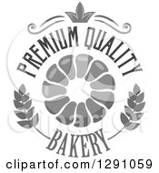 Clipart Of A Grayscale Pull Apart Croissant Or Monkey Bread In A Wheat Crown And Premium Quality Bakery Text Circle Royalty Free Vector Illustration