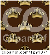 Clipart Of A Seamless Patterned Background Of Ornate Gold Crowns On Brown Royalty Free Vector Illustration