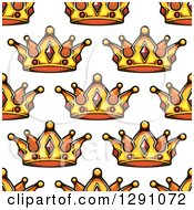 Clipart Of A Seamless Patterned Background Of Ornate Gold Crowns On White 2 Royalty Free Vector Illustration