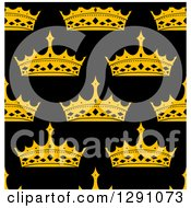 Clipart Of A Seamless Patterned Background Of Gold Crowns On Black Royalty Free Vector Illustration