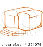 Clipart Of A Sketch Of Orange Loaves And Slices Of Bread Royalty Free Vector Illustration