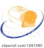 Clipart Of A Nutrition Logo Of A Bread Loaf And A Blue Swoosh Or Abstract Plate Royalty Free Vector Illustration