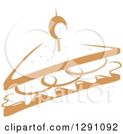 Clipart Of A Sketched Brown Half Sandwich Royalty Free Vector Illustration