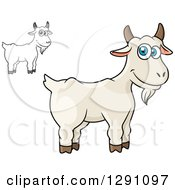Clipart Of Cartoon Happy White And Grayscale Goats Royalty Free Vector Illustration by Seamartini Graphics