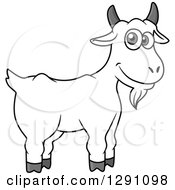Clipart Of A Cartoon Happy Grayscale Goat Royalty Free Vector Illustration by Vector Tradition SM