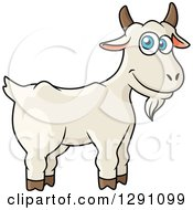 Clipart Of A Cartoon Happy White Goat With Blue Eyes Royalty Free Vector Illustration