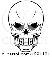 Clipart Of A Black And White Evil Human Skull Royalty Free Vector Illustration
