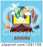 Clipart Of A Laptop And Travel Landmarks Over Booking Text On Blue Royalty Free Vector Illustration by Vector Tradition SM