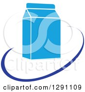 Clipart Of A Nutrition Logo Of A Milk Carton And A Blue Swoosh Or Abstract Plate Royalty Free Vector Illustration