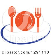 Clipart Of A Nutrition Logo Of An Orange Plate Cutlery And A Blue Swoosh Royalty Free Vector Illustration