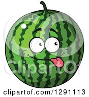 Clipart Of A Goofy Watermelon Character Sticking His Tongue Out Royalty Free Vector Illustration