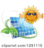 Clipart Of A Welcoming Happy Sun Wearing Shades Over A Solar Panel Encircled With A Swoosh And Green Leaves Royalty Free Vector Illustration