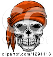 Clipart Of A Pirate Skull Wearing An Orange Bandana Royalty Free Vector Illustration