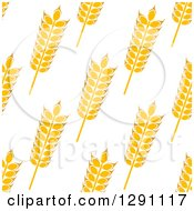 Clipart Of A Seamless Background Patterns Of Gold Wheat On White Royalty Free Vector Illustration