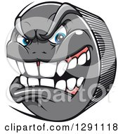 Clipart Of A Mad Aggressive Gray Hockey Puck Character Royalty Free Vector Illustration