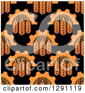 Clipart Of A Seamless Background Pattern Of Gradient Wheat And Gears On Black Royalty Free Vector Illustration