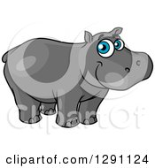 Clipart Of A Happy Blue Eyed Happy Hippo Royalty Free Vector Illustration