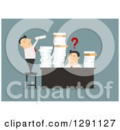Clipart Of A Flat Modern Design Styled Overwhelmed White Businessman Receiving More Paperwork At His Desk Over Blue Royalty Free Vector Illustration