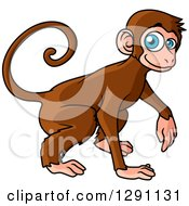 Clipart Of A Happy Blue Eyed Monkey Royalty Free Vector Illustration