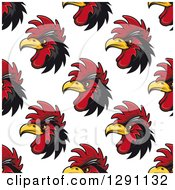 Clipart Of A Seamless Background Pattern Of Black And Red Rooster Heads Royalty Free Vector Illustration by Seamartini Graphics